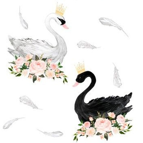 Black & White Swan with Feathers 7""