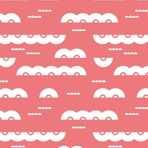 Abstract water and clouds soft scandinavian fabric design in pink