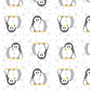Penguin_Fabric Grey Snowflakes