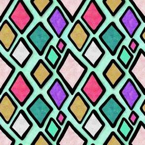 Project 109 | Diamonds | Gem Tones | Bohemian Harlequin Seafoam