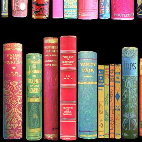 Antique Books // Vintage Bookshelf/ victorian fabric by magentarosedesigns on Spoonflower - custom fabric