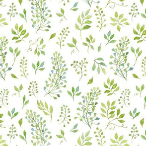 Green Watercolor Leaves Pattern