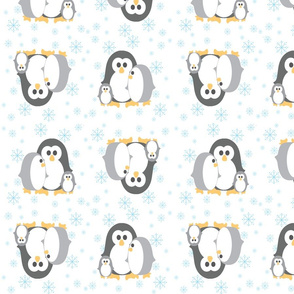 Penguin_Fabric Blue Snowflakes