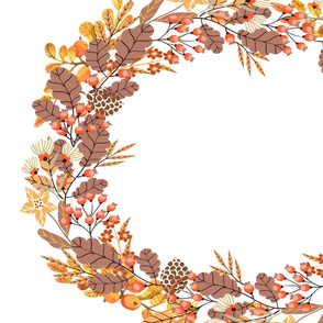Fall Wreath in Oranges Browns and Reds