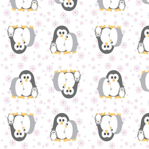 Penguin_Fabric Pink Snowflakes