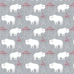 Be Wild Seek Adventure Buffalo Check Red Grey Linen // Tiny Scale