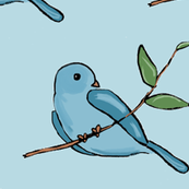 Bird on branch (blue)