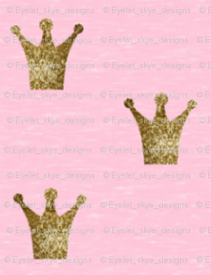 Tiny Gold Sparkle Crowns on Pink