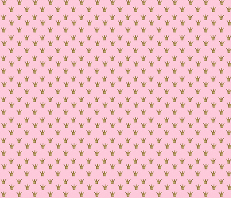 Tiny Gold Sparkle Crowns on Pink fabric by eyelet_skye_designs on Spoonflower - custom fabric