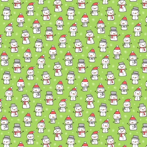 Winter Christmas Snowman & Snowflakes on Green Tiny Small fabric by caja_design on Spoonflower - custom fabric