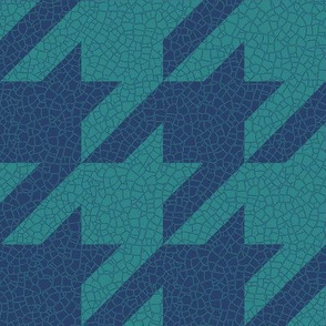 navy and teal crackle houndstooth