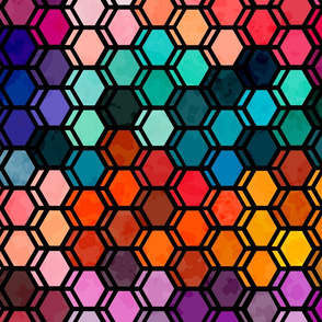 stained glass fractured hexagons
