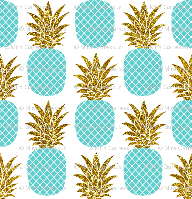 gold glitter pineapples – gold and turquoise on white, small. pineapples faux gold imitation tropical white background hot summer fruits shimmering metal effect texture fabric wallpaper giftwrap