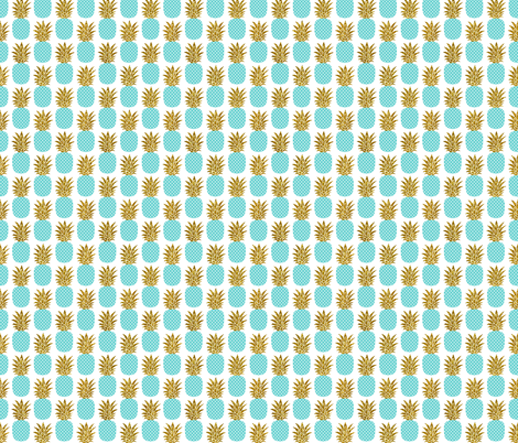 gold glitter pineapples – gold and turquoise on white, small. pineapples faux gold imitation tropical white background hot summer fruits shimmering metal effect texture fabric wallpaper giftwrap fabric by mirabelleprint on Spoonflower - custom fabric
