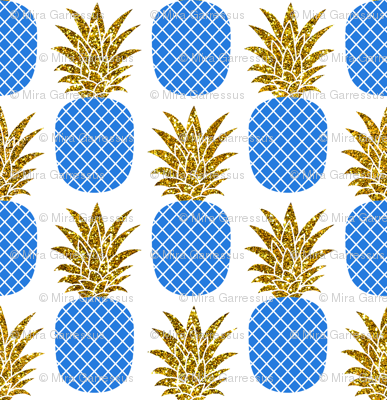 gold glitter pineapples – gold and cobalt on white, small. pineapples faux gold imitation tropical white background hot summer fruits shimmering metal effect texture fabric wallpaper giftwrap