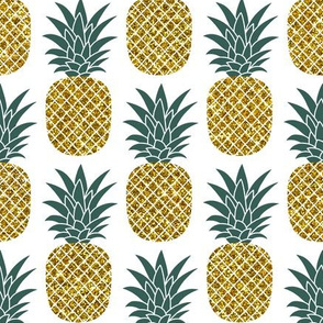 gold glitter pineapples – gold and jungle green on white, medium