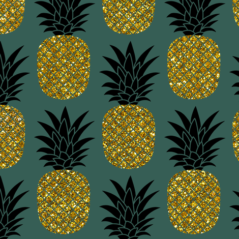 gold glitter pineapples – gold and black on jungle green, medium. pineapples faux gold imitation tropical green background hot summer fruits shimmering metal effect texture fabric wallpaper giftwrap fabric by mirabelleprint on Spoonflower - custom fabric