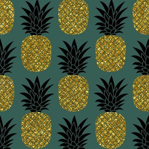 gold glitter pineapples – gold and black on jungle green, medium. pineapples faux gold imitation tropical green background hot summer fruits shimmering metal effect texture fabric wallpaper giftwrap