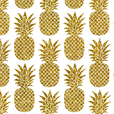 Gold Glitter Pineapples White Small Faux Imitation Tropical Background Hot