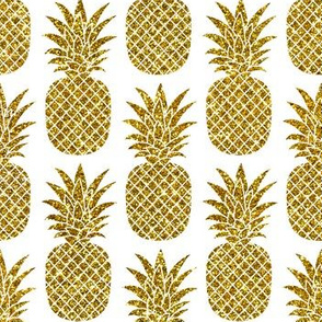 gold glitter pineapples – white, small. pineapples faux gold imitation tropical white background hot summer fruits shimmering metal effect texture fabric wallpaper giftwrap
