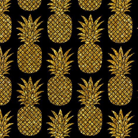 gold glitter pineapples – black, small. pineapples faux gold imitation tropical black background hot summer fruits shimmering metal effect texture fabric wallpaper giftwrap fabric by mirabelleprint on Spoonflower - custom fabric