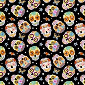 sugar skulls - black, mini
