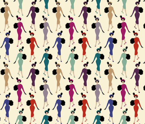 vintage ladies - vanilla fabric by mirabelleprint on Spoonflower - custom fabric