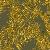 gold glitter palm leaves - olive, mini