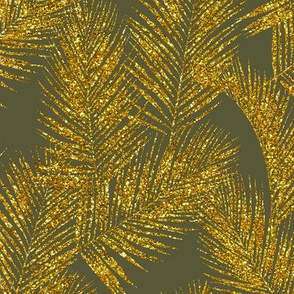 gold glitter palm leaves - olive, mini