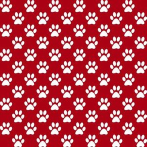 Half Inch White Paw Prints on Dark Red