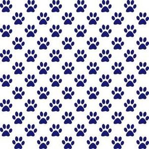 Half Inch Midnight Blue Paw Prints on White