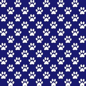 Half Inch White Paw Prints on Midnight Blue