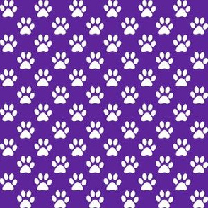 Half Inch White Paw Prints on Purple