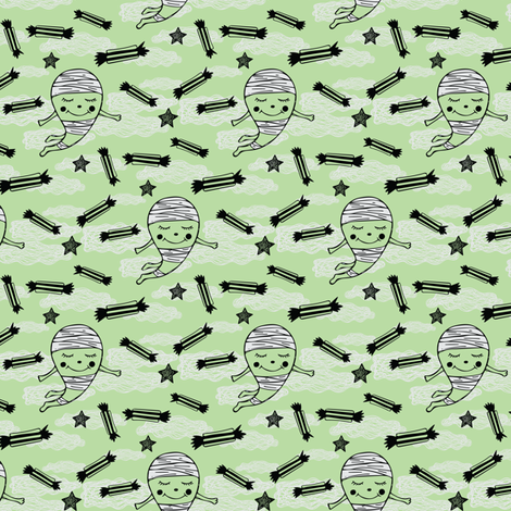 Halloween Mummy and Candy fabric by jacquelinehurd on Spoonflower - custom fabric