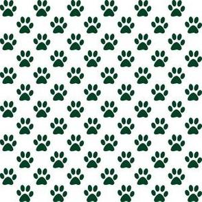 Half Inch Evergreen Green Paw Prints on White