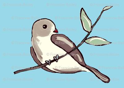 Bird on a Branch - brown/blue