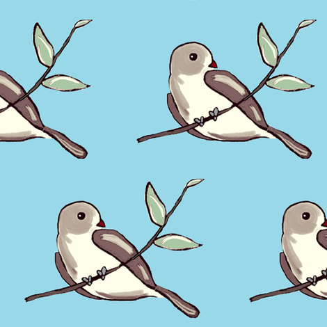 Bird on a Branch - brown/blue  fabric by franbail on Spoonflower - custom fabric