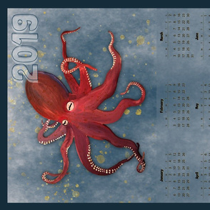 Vertical Red Octopus Calendar - 2019