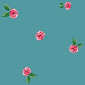 Aqua Deer  Matching Print with Roses