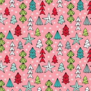 Christmas trees and origami decoration stars seasonal geometric december holiday design pink multi color SMALL