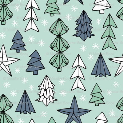 Christmas trees and origami decoration stars seasonal geometric december holiday design mint blue SMALL