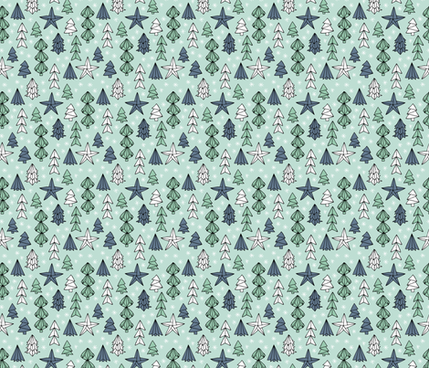 Christmas trees and origami decoration stars seasonal geometric december holiday design mint blue SMALL fabric by littlesmilemakers on Spoonflower - custom fabric