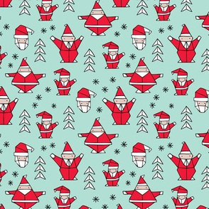 Origami decoration stars seasonal geometric december holiday and santa claus print design red mint SMALL
