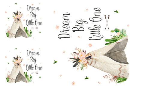 "Dream Big Little One Teepee - Use for 2 - 17""x17"" and 1 36""x36"" fabric by shopcabin on Spoonflower - custom fabric"
