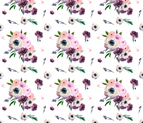 "7"" Dark Floral Print in White  fabric by shopcabin on Spoonflower - custom fabric"