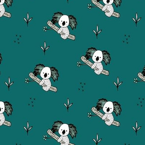 Cute koala tree baby adorable Australian themes for winter fall teal