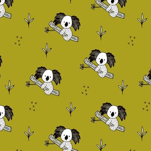 Cute koala tree baby adorable Australian themes for winter fall mustard green yellow