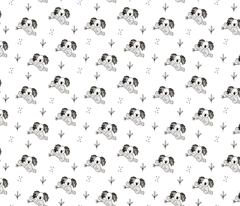 Cute koala tree baby adorable Australian themes for summer and winter black and white fabric by littlesmilemakers on Spoonflower - custom fabric