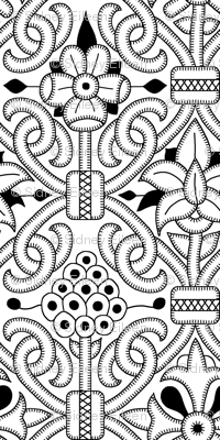 Detailed Elizabethan Carpet Floral Blackwork