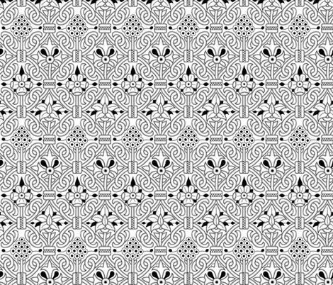 Detailed Elizabethan Carpet Floral Blackwork fabric by sidney_eileen on Spoonflower - custom fabric